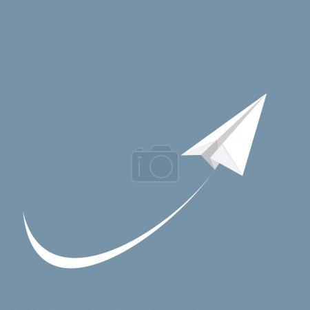 Illustration pour Illustration vectorielle de l'avion en papier blanc, icône - image libre de droit