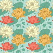 Lotus and water lily flowers in seamless pattern Vector