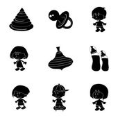 Vektorové černé dítě ikony nastavit