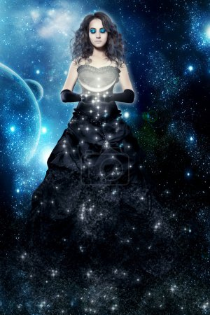 Woman night. Magic lady and fairy tale. Dreams and sleeping. Female star in the hands of the moon on a background of the galactic sky. Magic.