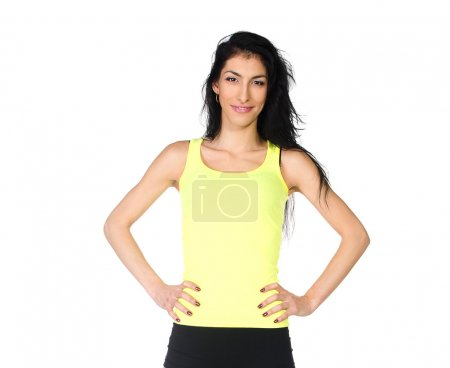 Sporty girl in yellow shirt