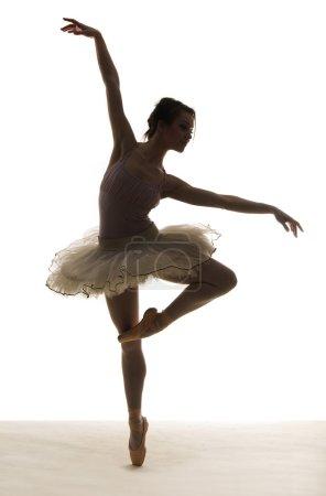 Photo pour Danse de ballet en silhouette sur fond blanc - image libre de droit
