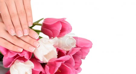 French manicure close up