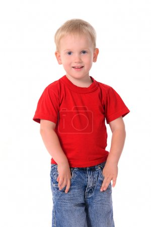Portrait of fashionable little boy in red shirt