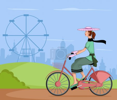 Illustration for Retro lady riding bicycle in vector illustration - Royalty Free Image