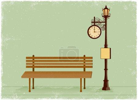 Illustration pour Réveil de rue et lampadaire avec banc de parc dans un style vectoriel vintage - image libre de droit