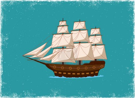 Illustration for Antique Ship in vintage vector style - Royalty Free Image