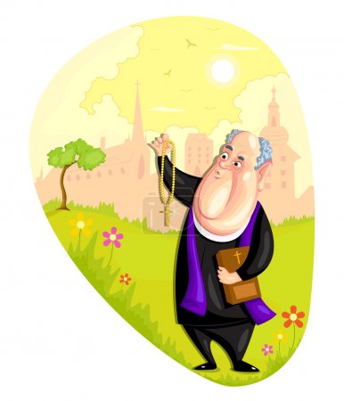 Illustration pour Illustration du prêtre de l'Eglise en vecteur - image libre de droit
