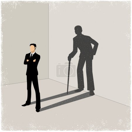 Illustration for Young man casting shadow of old man in vector - Royalty Free Image