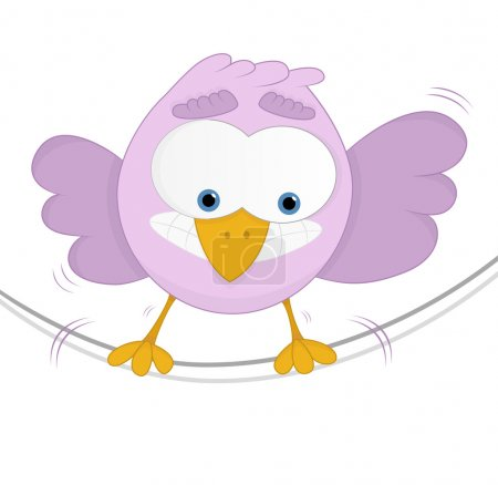 Illustration for Funny bird with a fear of heights and unbalancing on a rope. White background. - Royalty Free Image