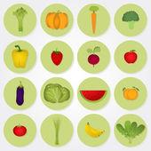 Barevné ikony zeleniny a ovoce