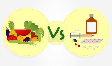 Illustration for Prevent or remedy? Benefits of fruits and vegetables in the diet versus allopathic remedies. - Royalty Free Image