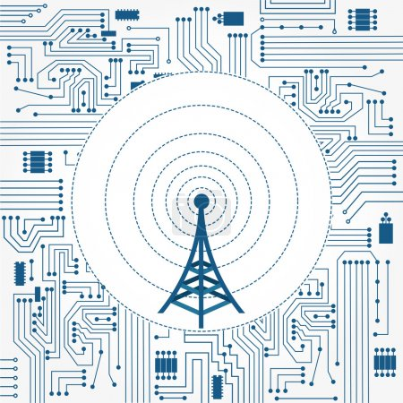 Illustration for Electronics circuit background with a communication tower in the center - Royalty Free Image