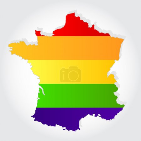 Rainbow flag in contour of France
