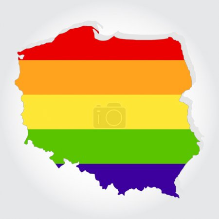 Rainbow flag in contour of Poland
