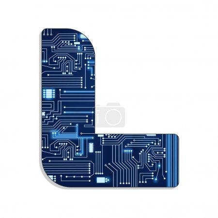 """Lettre """"L"""" de l'alphabet stylisé de la technologie"""