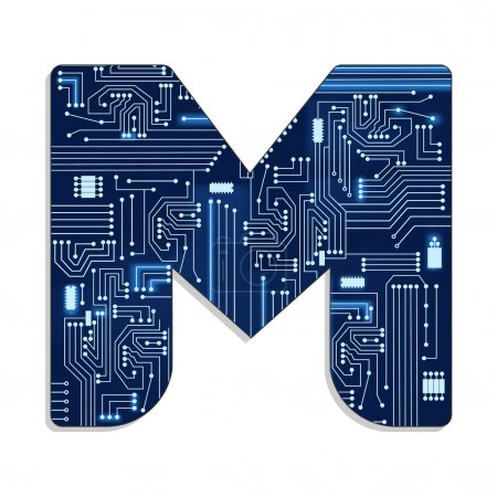 "Photo for Letter ""m"" from technology's stylized alphabet with electronic circuit. Uppercase letter. - Royalty Free Image"