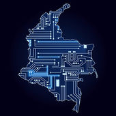 Map of Colombia with electronic circuit