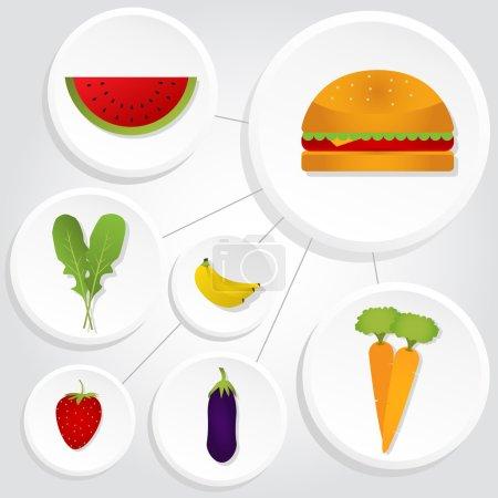 Illustration pour Schéma avec légumes, fruits et hamburger. Icônes interconnectées. Melon d'eau, carottes, aubergine, banane, roquette, fraise . - image libre de droit