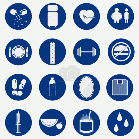 Illustration for Monochromatic an circular icons with gradient representing equipment, food and habits related to health. - Royalty Free Image