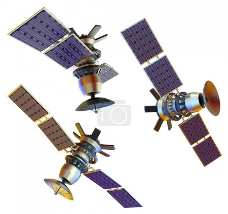 Photo for 3D models of an artificial satellite (from different angles) - Royalty Free Image