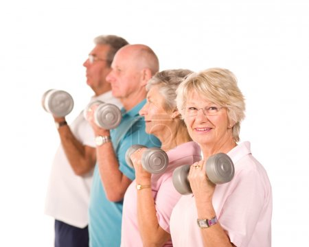 Senior older people lifting weights