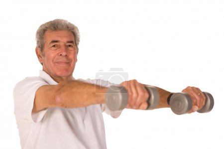 Older senior man lifting weights