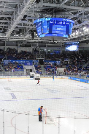 Hockey arena during the timeout