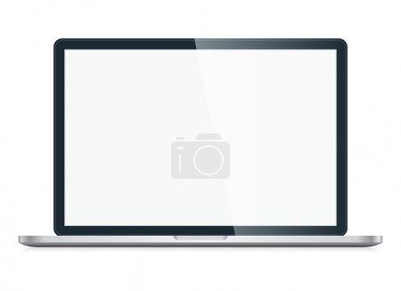 Illustration pour Ouvrez un ordinateur portable avec écran vide isolé sur fond blanc. Vecteur EPS10 - image libre de droit