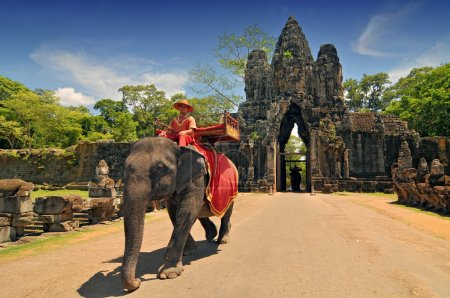 Elephant rides for tourists at Cambodia's most famous tourist attraction, the temple Angkor Wat in Siem Reap, Cambodia.
