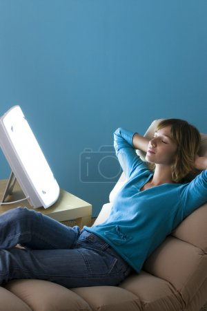 Photo for WOMAN LIGHT THERAPY - Royalty Free Image