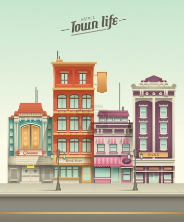 Small Town Street View with retro colors