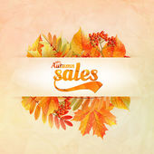 Autumn sale poster with leaves on a old paper