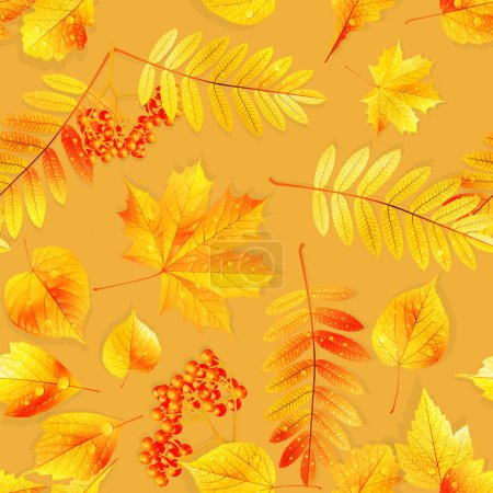 Illustration for Autumnal swatch ready detailed seamless wet leaves background. EPS10 - Royalty Free Image