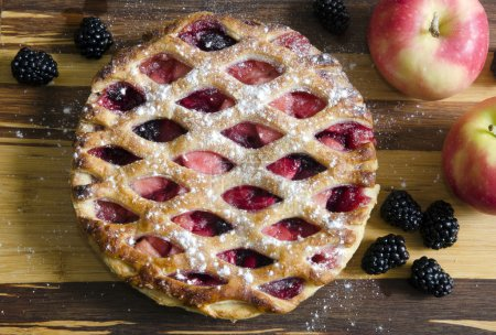 Photo for Freshly baked Bramley apple and blackberry pie - Royalty Free Image