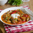 Sausage and Chorizo goulash topped with sour cream...