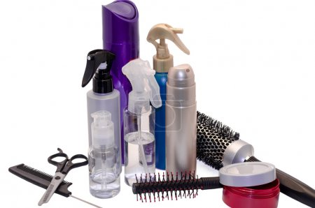 gel, hairbrush and balms for hair dressing the isolated
