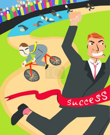 Illustration for Man in a Suit Winning Business Triathlon - Royalty Free Image