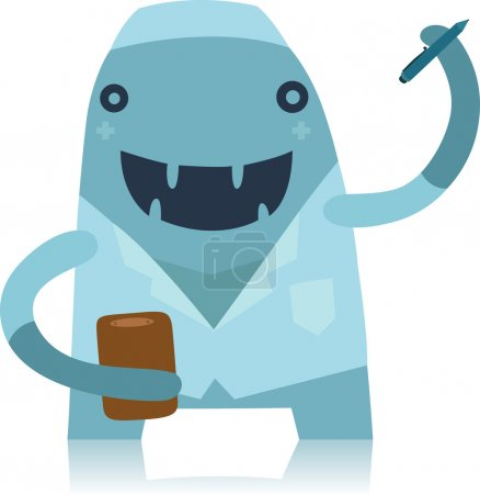 Illustration for Smiling Blue Doctor Monster in a White Coat Writing Out Prescription - Royalty Free Image