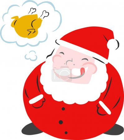 Hungry Round Santa Dreaming of Christmas Turkey...
