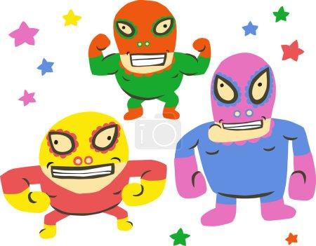 Funny Trio Wrestlers