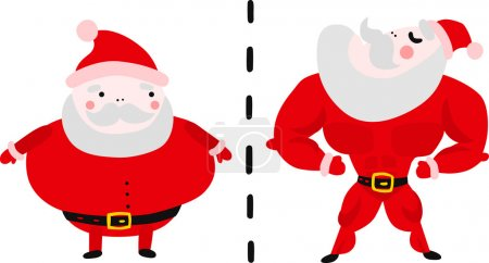 Illustration for Getting Into Shape After Holidays: Fat and Fit Santa - Royalty Free Image