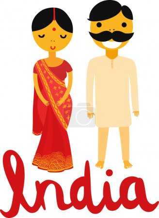 Illustration for Indian Woman and Man in Traditional Clothing - Royalty Free Image