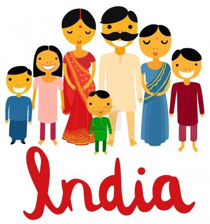 Illustration pour Bonne grande famille indienne - image libre de droit