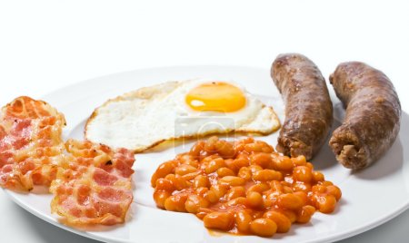 Photo for Traditional english breakfast - egg, sausages, beans and bacon - Royalty Free Image