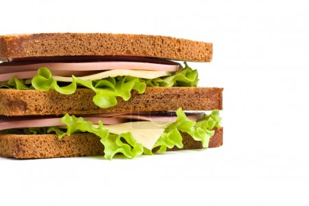 whole wheat  sandwiches with meat,cheese and lettuce