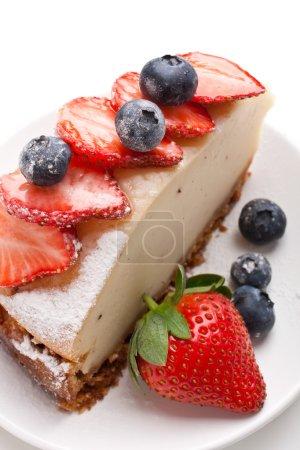 piece of tasty vanilla cheesecake