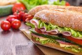 Long Baguette Sandwich with lettuce