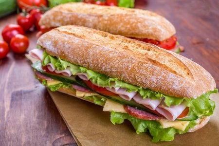 Long Baguette Sandwich with lettuce