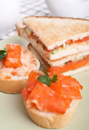 Photo for Sandwiches with smoked salmon - Royalty Free Image